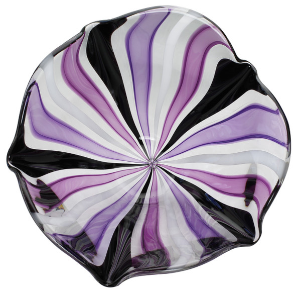 Top view of hand blown glass bowl.  Purple and Black Strips of glass cane.