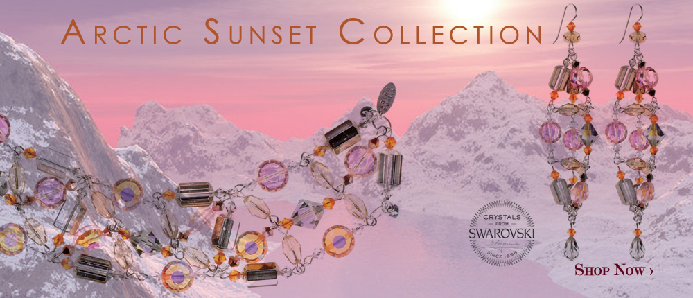 a beautiful sunset inspired this new collection for 2016. Dazzle in the new colors by pantone with designer karen curtis' new trend for the season made with very rare antique swarovski crystals. some of the crystals in this collection are so rare that date back to the 1930s time period. with sterling silver accenting this jewelry collection and pinks, tans, golds and orange you are sure to feel pretty in pink. Shop our latest bracelets, earrings and necklace in our newest trend arctic sunset