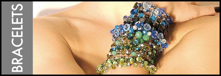 Colorful designer Swarovski Crystal Bracelets. Bracelet designs from cuffs, bangles, fringe, and charm bracelets