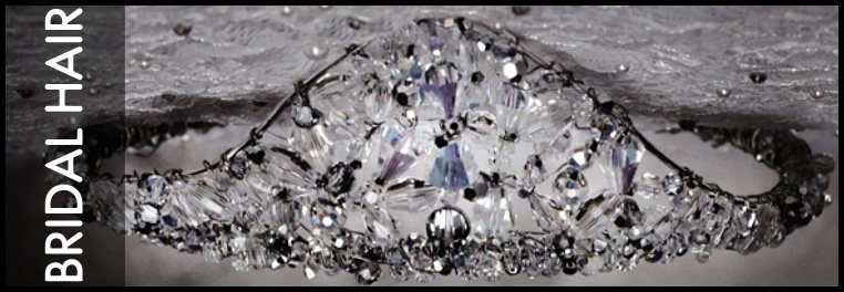 Swarovski crystal designer hair pieces for brides. Tiaras, hair pins, and small swarovski crystal accents for brides and bridesmaids.