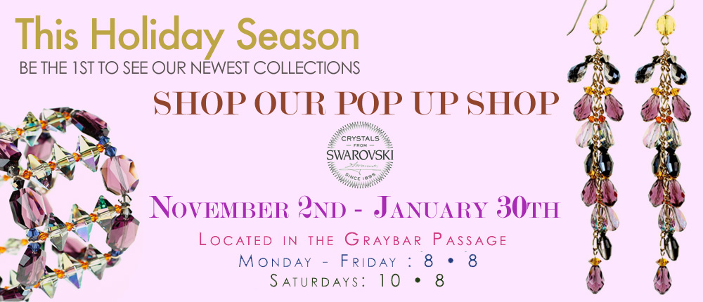 Grand Central Terminal Kiosk Opens November 2nd to the public. Free to shop. Shop karen Curtis Jewelry in person. Find the Perfect Hostess Gift with one of our One of a Kind Hand Blown Glass Wine Stoppers. Perfect to show up with on Thanksgiving! Sparkle your way into 2016 with our unique jewelry.Bling on the New Year! Grand Central is the place to shop unique gifts. Our kiosk in grand central is on time for Thanksgiving day hostess gifts, Christmas and Hanukkhah gifts, and we are there to get your Valentine's day gifts. Our Pop up shop is a great place to have fun and try on our jewelry, update your home with a crystal chandelier or a beautiful hand blown glass vase and dont' forget to pick up our wine stoppers when you need the perfect house warming gift on your way to visit friends. We look foward to seeing you at our kiosk in Grand Central Terminal.