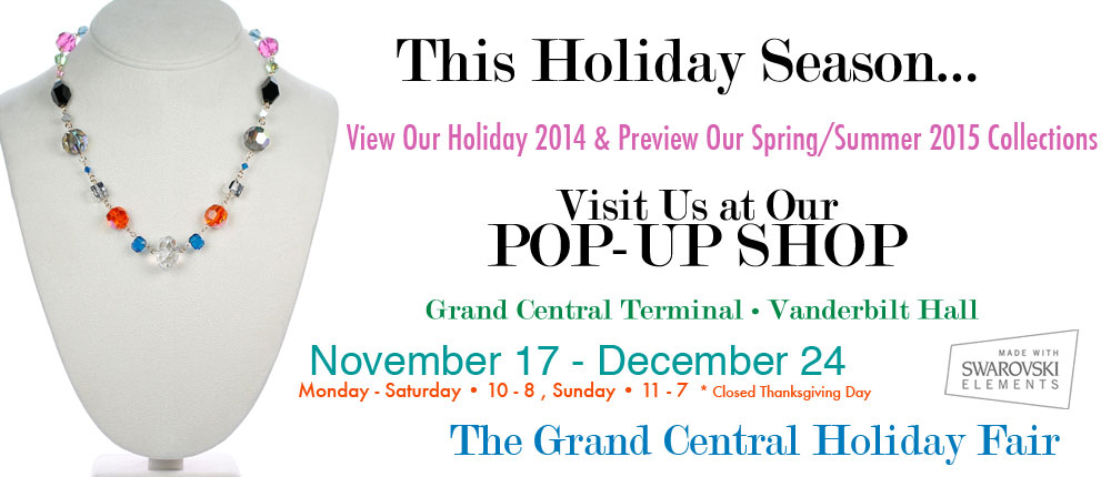 the grand central holiday fair is around the corner.  this amazing holiday fair in nyc is a very special landmark and is wear you can come and meet us in person and shop karen curtis jewelry and home decor.  dont miss karen curtis jewelry in grand central terminal over the holidays.  best place to shop unique gifts for the whole family.