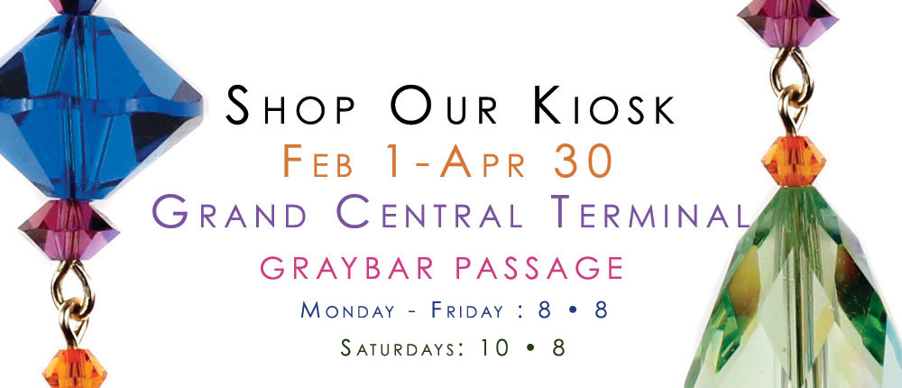 Grand Central Terminal Kiosk Opens February 2nd to the public. Free to shop. Shop karen Curtis Jewelry in person. Sparkle your way into 2015 with our unique jewelry. Grand Central was a great success and we look forward to having a kiosk in grand central on time for valentine's day gifts. Great place to have fun and try on our jewelry and pick up our wine stoppers when you need the perfect house warming gift on your way to visit friends. we look foward to seeing you at our kiosk in Grand Central.