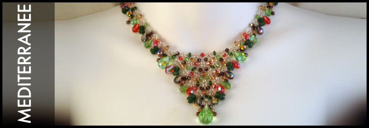 Peridot, Pink, and blue swarovski crystal grouped together to create a beautiful jewelry collection.
