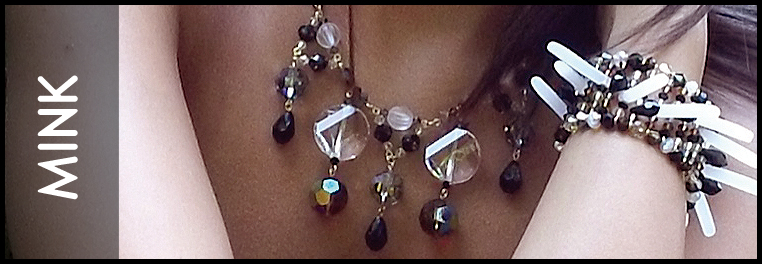 Tans, Browns, and black and gold crystal all swarovski made this beautiful jewelry line called mink.