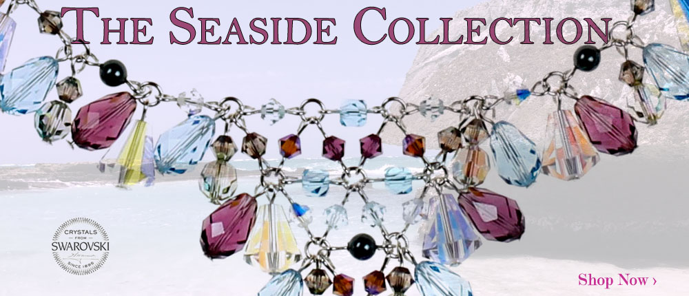 Our beautiful seaside collection was inspired by beach and water while sitting seaside and taking in all the beauty. The crystals in this collection are blue crystals and purple crystals.  Sparkle in Swarovski with our limited edition jewelry