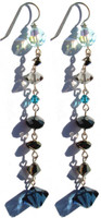 Jewelry designer New York native Karen Curtis creates these long shoulder brusher earrings with Swarovski crystal