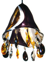 Hand blown glass pendant light with STRASS SWAROVSKI crystal