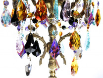 Antique brass candelabra with multi colored STRASS crystal design