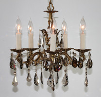 GOLDEN TEAK CHANDELIER  STRASS CRYSTAL
