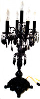 Antique brass candelabra painted with black enamel and draped with black STRASS crystal