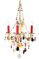 Gorgeous antique French chandelier designed with colorful STRASS Swarovski crystals