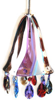 Hand blown glass pendant light with STRASS Swarovski crystals matching colors in the shade