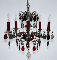 Antique brass chandelier with black enamel inlays, designed with black golden teak and Bordeaux STRASS crystal
