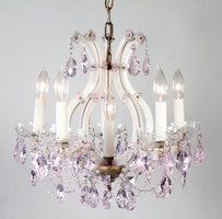Santa maria chandelier from the 1920's made in Italy. Draped with many different sized pink STRASS crystals