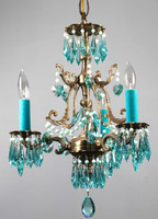 Vintage brass chandelier amazing detail accented with teal STRASS Swarovski crystal