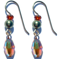 Made with SWAROVSKI ELEMENTS  1 of 10  Gold filled metal Earring on French Wire  Hand crafted by designer in NYC  Colors: Olive Pearl, Burnt Orange and Topaz