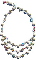 Swarovski crystal layer necklace with 3 strands of Swarovski elements hanging in the front.  Made with sterling silver and comprised of chalk white vintage Swarovski elements,fushcia, light azure, sand and more.