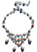 Karen curtis original estate necklace Made with very rare chalk white Swarovski elements. Made with sterling silver and adjustable clasp allows for variable lengths.