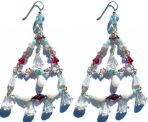 Large fun triangular shaped Swarovski crystal chandelier earrings. All on sterling silver French wire. One of a kind design.