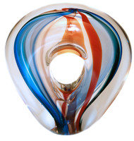 Hand Blown Art Glass Sculptural Design for your Table top in Red • White • Blue