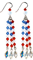 Patriotic 3 Strand Drop Earrings