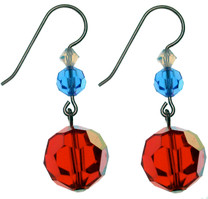 Simple, Elegant, and Patriotic Swarovski Crystal single drop earrings on Sterling Silver.