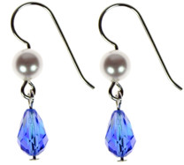 A beautiful and festive pair of Swarovski crystal earrings designed on sterling silver, perfect for hannakah.