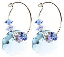 Hannakah earrings made on sterling silver with Swarovski crystals