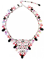 """Perfect Valentine's Day jewelry.  This necklace is made with all Swarovski crystal most of which are antique, discontinued, and very rare ELEMENTS. This collection of jewelry captures the colors of the holiday and this necklace in particular is the boldest statement piece in the designs.  Swarovski crystal jewelry for Valentine's Day says """"I love you"""" and """"You are beautiful""""."""