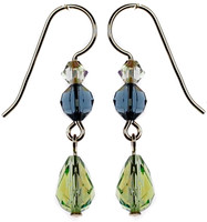 Swarovski crystal peridot drop earrings by Karen Curtis NYC