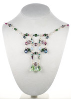 Swarovski crystal colorful necklace made in NYC by Karen Curtis