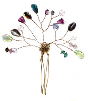 Colorful Swarovski crystal hair piece by Karen Curtis NYC