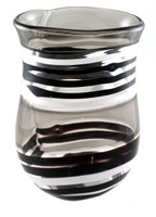 Modern Glass Art, Black and White Striped Vase handmade in Brooklyn