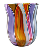 Wavy stripes of color in a hand blown glass vase made in brooklyn