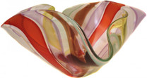 Large Glass Floppy Bowl from the adorned collection features vibrant and structure color in a free form shape.