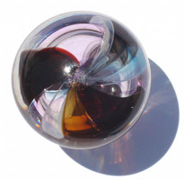 Hand made color strips are fused together and hand blown to design each drawer pull. Size may vary slightly