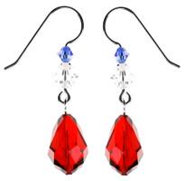 Red American Drop Earrings