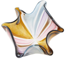 Hand blown glass floppy bowl by Karen Curtis