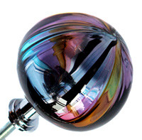 Hand Blown Glass Drawer Pull. Each one is made individually using color rods called cane.  This Knob is purple, green, black, smokey topes and navy