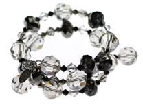 Elegant Black and Clear crystal bracelet. Swarovski crystal bangle bracelets by Karen Curtis NYC