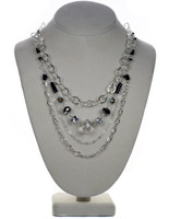 Deco Layer Necklace with Sterling Chain