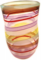 hand blown glass vase - purple, brown, red, lime, green, and white.  It is one of a kind from Karen's adorned collection