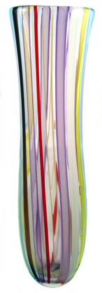Hand blown glass vase. This vase is over 18 inches in height. It is one of a kind and made of different color strips of cane.