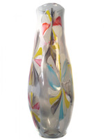 one of a kind, hand blown tall flower vase. this vase is made of colored cane made into the shapes of flowers.