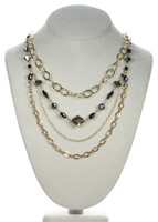 Mixed Gold Chain and Crystal Necklace