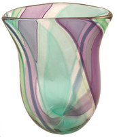 One of a kind hand blown oval shaped vase from the garden collection.  The overlapping colors add to color combination