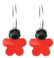 Bright Red Christmas Earrings with Swarovski Crystal by Karen Curtis NYC