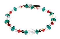 Christmas Bracelet with red, green and clear Swarovski crystal.
