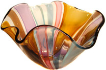 Large floppy bowl with beautiful multi colored vertical cane design. One of a Kind